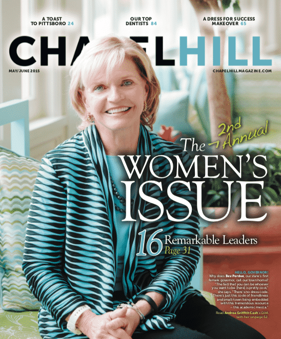 Governor Bev Perdue was photographed at The Carolina Inn.