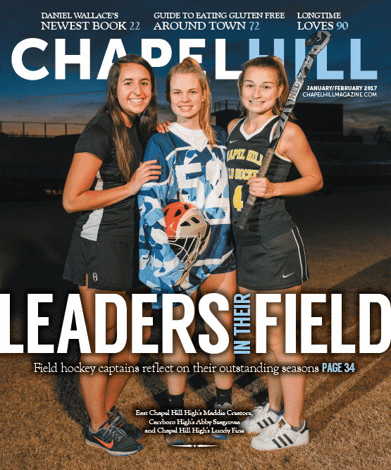 Three of the field hockey captains at East Chapel Hill, Carrboro and Chapel Hill high schools.