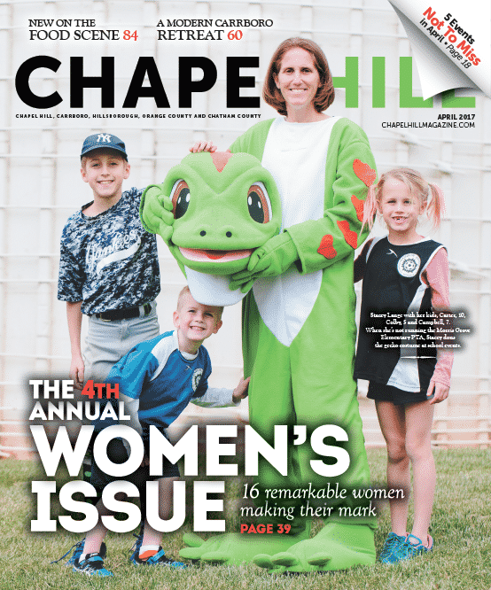 Stacey Lange with her kids, Carter, 10, Colby, 5 and Campbell, 7. When she's not running the Morris Grove Elementary PTA, Stacey dons the gecko costume at school events.