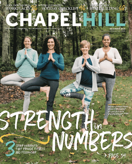 Kate Sayre, Alexandra DeSiato, Lauren Sacks and Francelle Toedtli found community and camaraderie during the Whole Mama Yoga retreat at Rock Quarry Farm.
