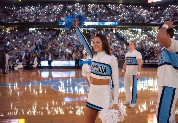 Unc cheerleader at basketball game