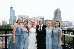 The couple with their daughters in Raleigh