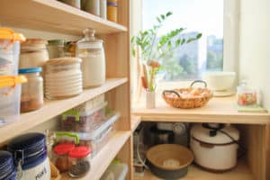Having lovely containers affixed with clever labels may help you keep your pantry organized and tidy.