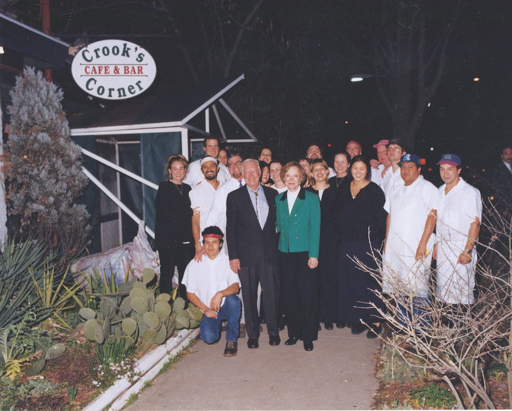 The Crook's Corner staff with former president Jimmy Carter and Rosalynn Carter circa 1998.