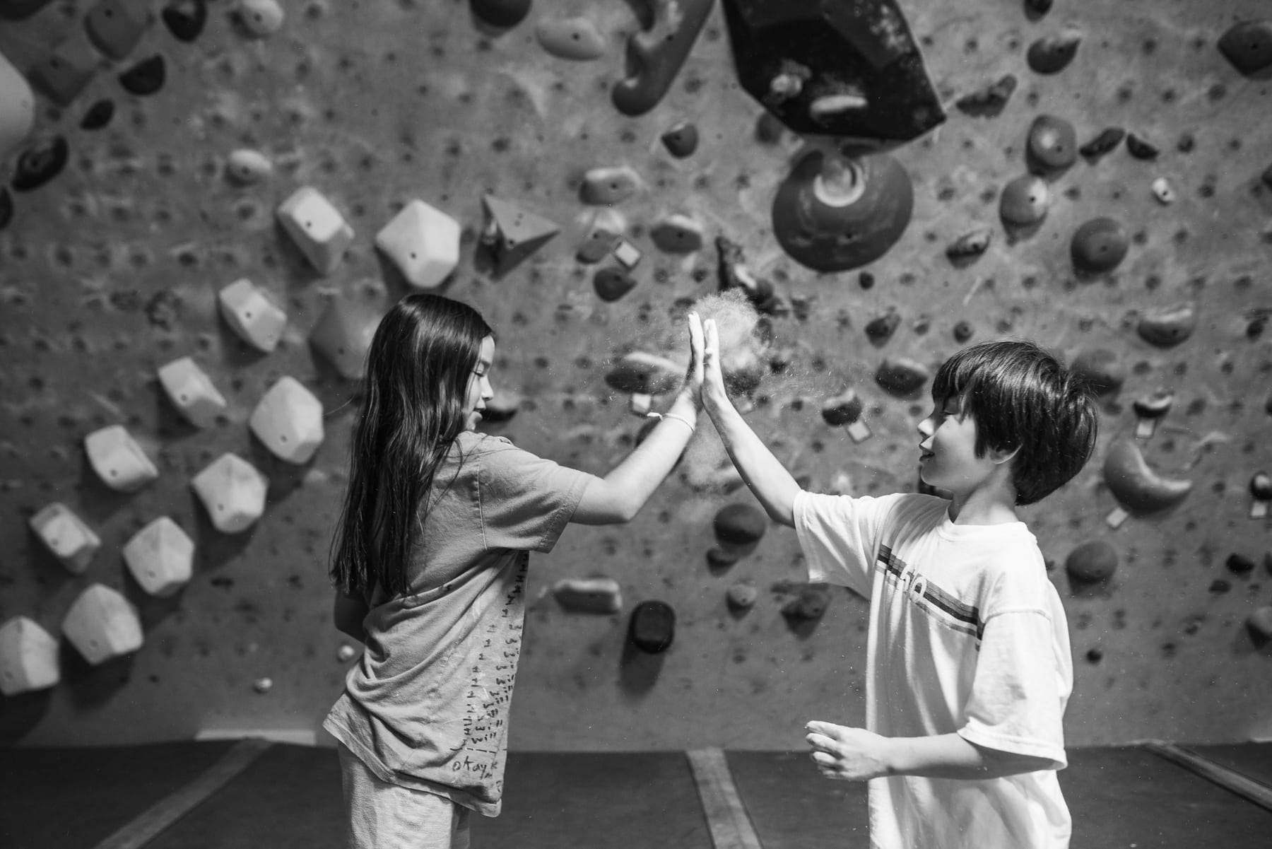 Twins Rebecca and Theo Kornylak at Progression Climbing