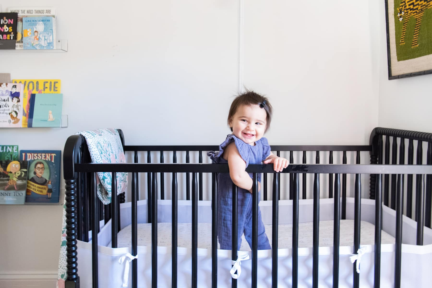 Anna designed Ruth's nursery around this black crib
