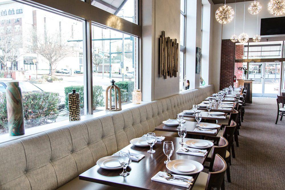 Dining room in Chimney Indian Kitchen + Bar on West Franklin Street