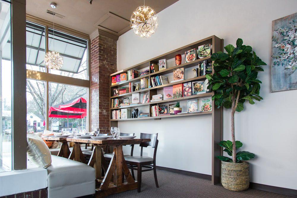 Bookshelves at Chimney Indian Kitchen + Bar