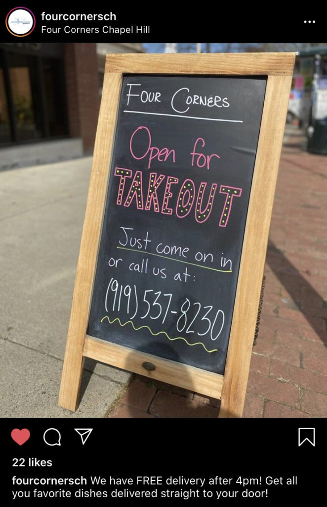 Four Corners Chapel Hill Open For Takeout Free Delivery after 4pm