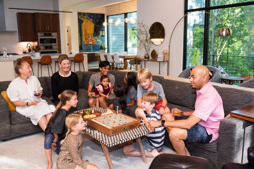 Custom-built home – Chapel Hill families gathered in a living room