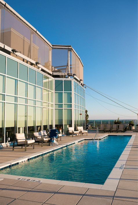 The 28th floor of Durham's One City Center is home to the clubroom and rooftop pool and hot tub.