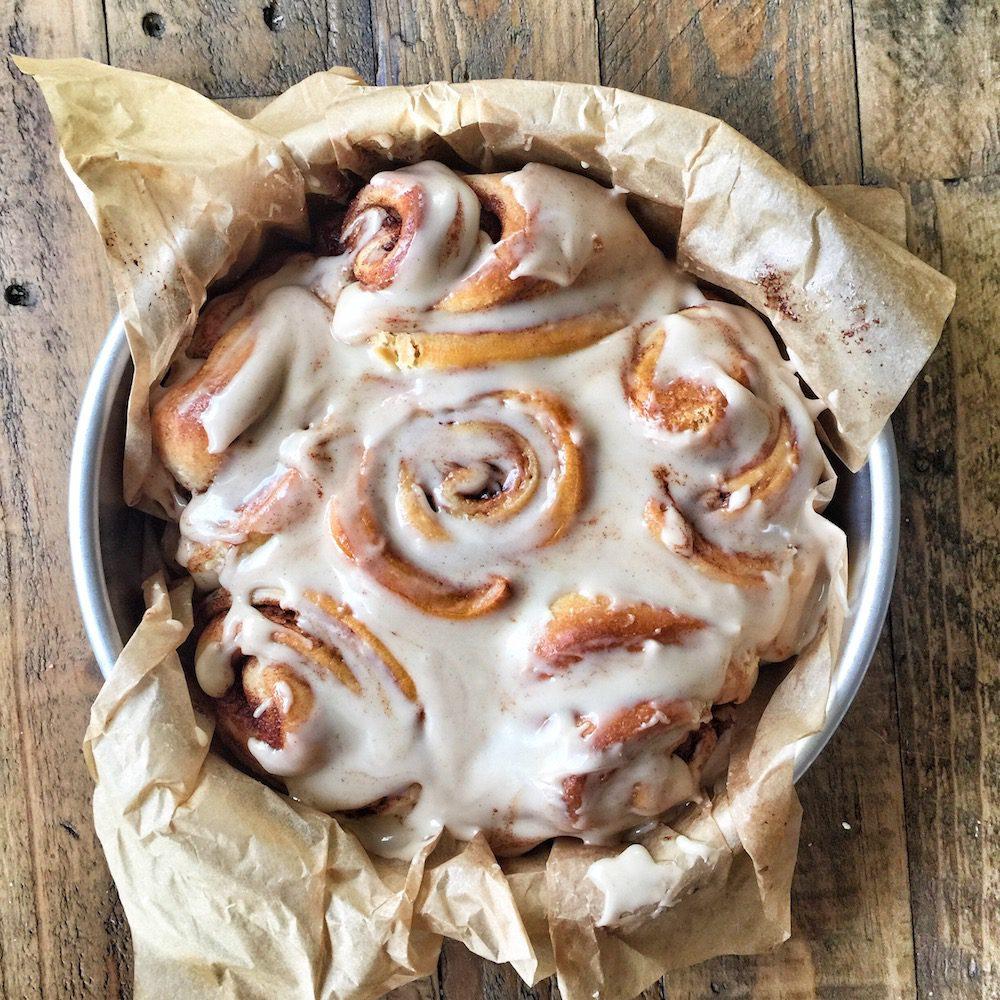 vegan cinnamon rolls by Crumbs bakery