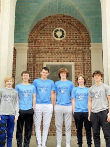 The boys in front of the UNC bell tower