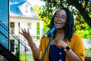 Poet Ayanna Albertson performs at a Last Fridays in Hillsborough event this spring.