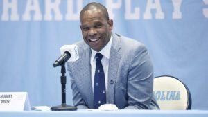 Hubert Davis, Carolina Basketball head coach, at a press conference in April.