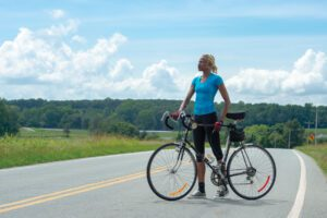 Alicia Reid cycles near her home in Orange County.